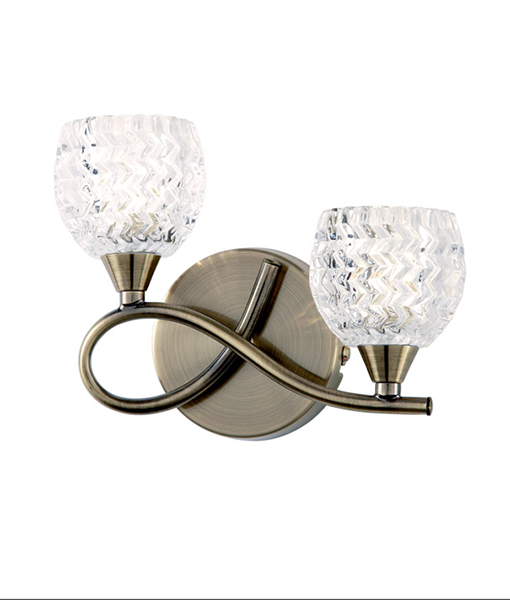 BOYER-2WBAB-L-Clear-Glass-and-Antique-Brass-Plate-CRYSTAL-WALL-LIGHT