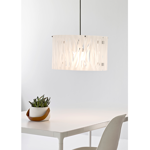 HL06087270120 GRASS PENDANT WHITE LIGHT FITTING MODERN WITH CUT OUT DETAIL HERSTAL DUBLIN BUY LIGHTING IRELAND