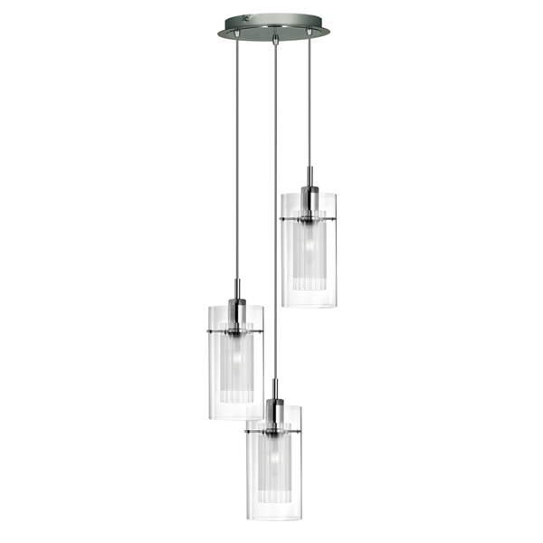 3 Bar Pendant Light Hanging Chrome Effect 3 Way Mounted: ST2300-3 SATIN CHROME DOUBLE GLASS 3 LIGHT FITTING