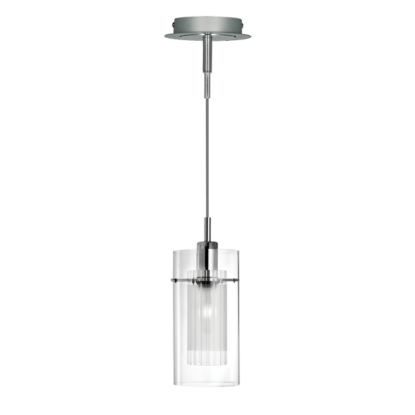ST2301 SATIN SILVER DOUBLE GLASS PENDANT