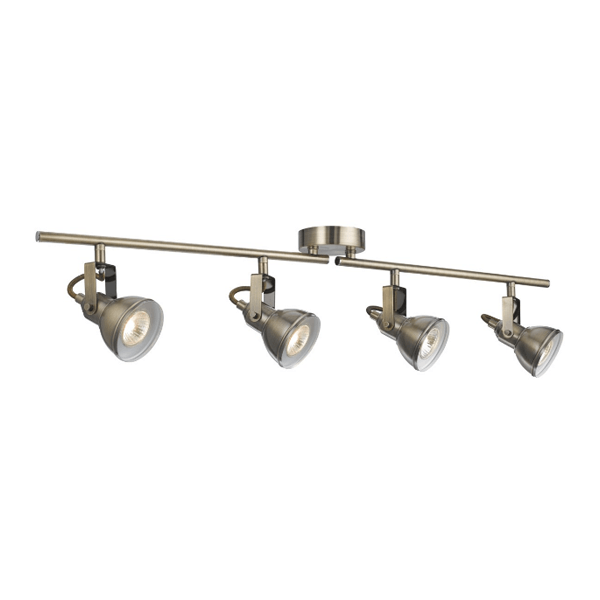 Vintage Brass Track Lighting: ST1544AB INDUSTRIAL 4 LIGHT ANTIQUE BRASS SPLIT-BAR