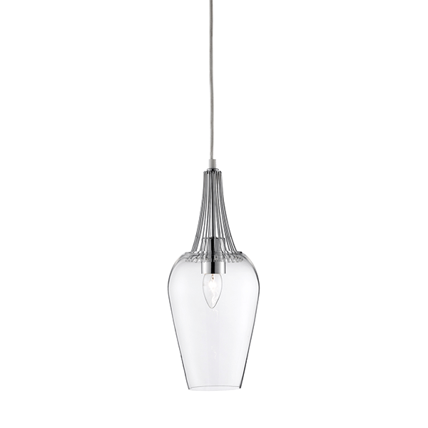 St8911cc whisk pendant chrome trim and clear glass national lighting st8911cc chrome silver pendant ceiling light fitting fixture aloadofball Gallery