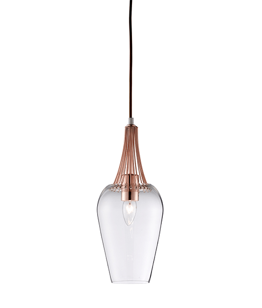 Bathroom Light Fittings Dublin: ST8911CO WHISK PENDANT COPPER TRIM AND CLEAR GLASS