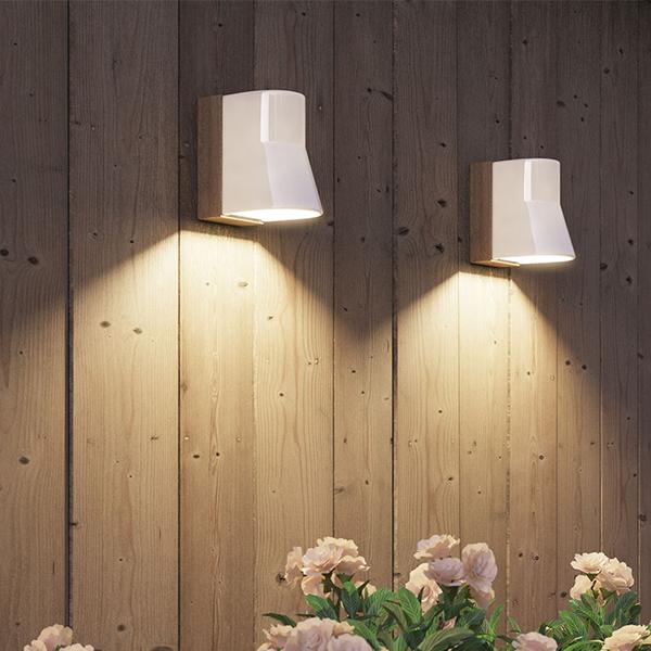 Beacon Lighting Exterior Wall Lights : BCNWW BEACON TEAK WHITE PORCELAIN LED WALL LIGHT - National Lighting