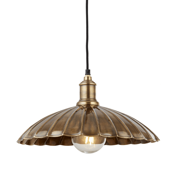 2715AB-UMBRELLA SCALLOPED PENDANT ANT BRASS-NATIONAL-LIGHTING-DUBLIN