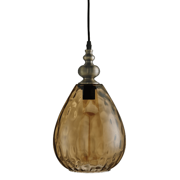 st2019am-indiana-1-light-pendant-antique-brass-tapered-amber-dimpled-glass-shade