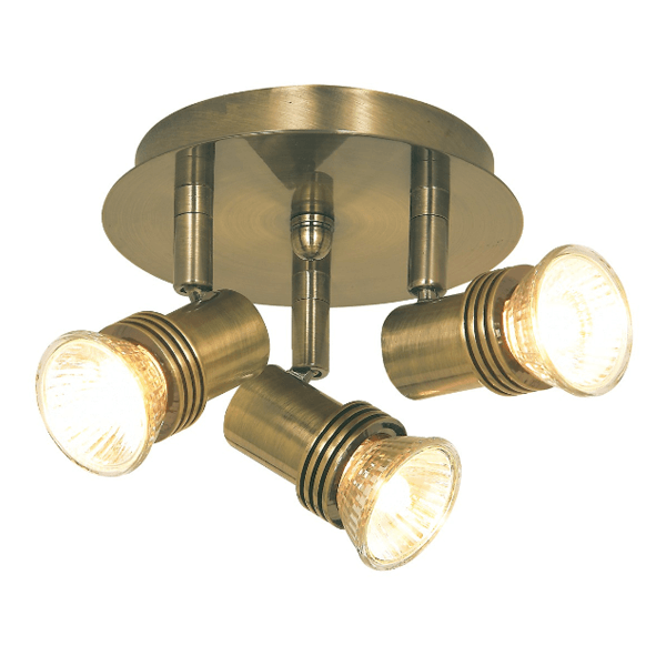Vintage Brass Track Lighting: STP633AB ANTIQUE BRASS 3 LIGHT MINI CIRCULAR SINGLE