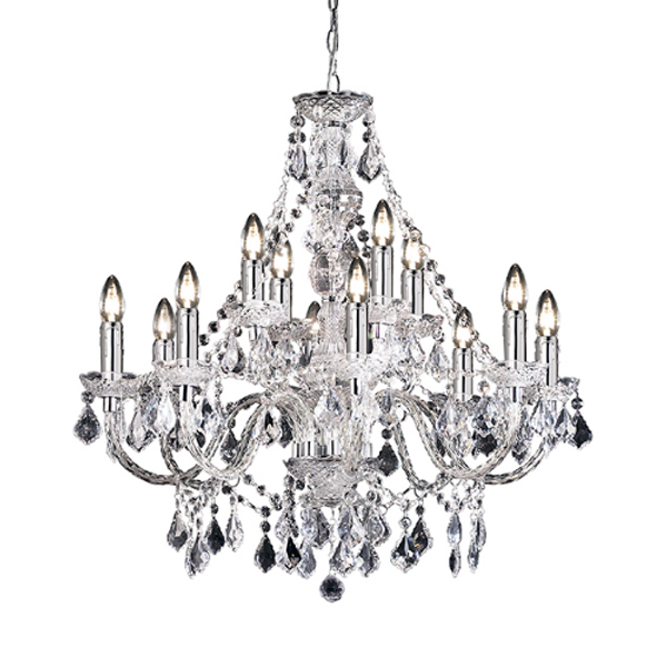 SG308-8+4CL CLARENCE 12 LIGHT ACRYLIC CHANDELIER