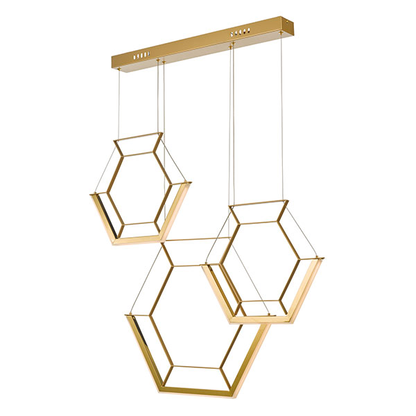 DHHEX0335 HEXAGON 3lt LED Bar Cluster Pendant